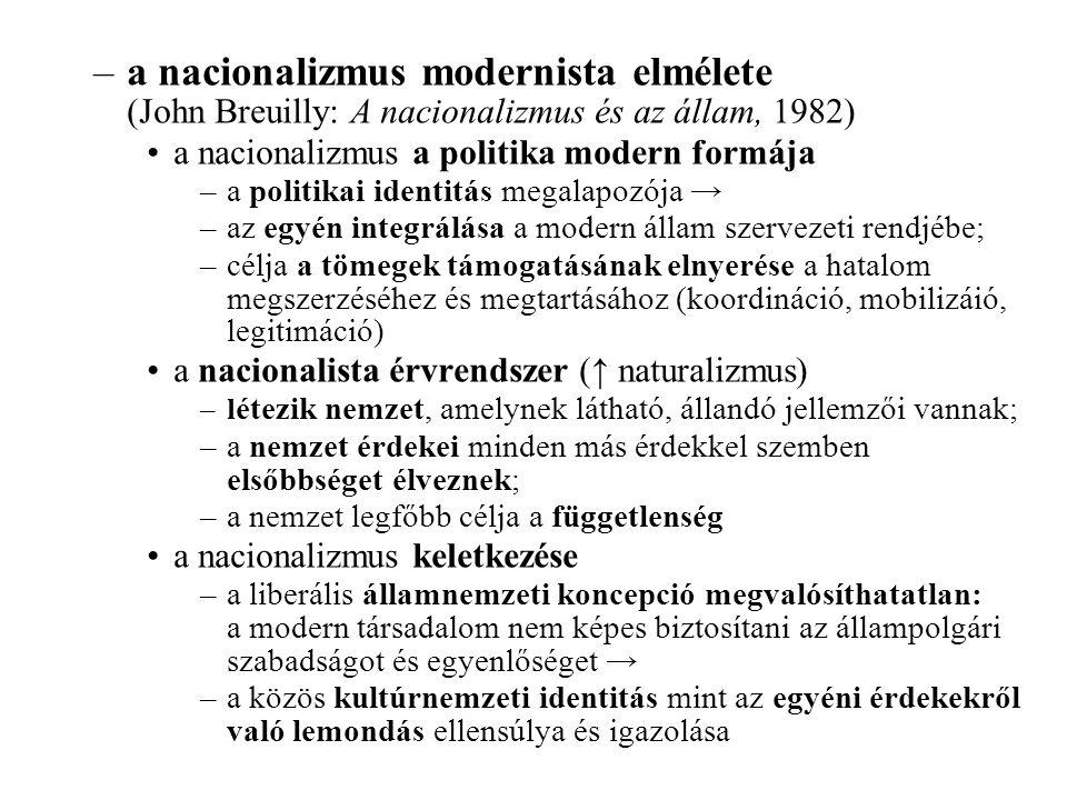 –a nacionalizmus modernista elmélete (John Breuilly: A nacionalizmus és az állam, 1982) a nacionalizmus a politika modern formája –a politikai identitás megalapozója → –az egyén integrálása a modern állam szervezeti rendjébe; –célja a tömegek támogatásának elnyerése a hatalom megszerzéséhez és megtartásához (koordináció, mobilizáió, legitimáció) a nacionalista érvrendszer (↑ naturalizmus) –l étezik nemzet, amelynek látható, állandó jellemzői vannak; –a nemzet érdekei minden más érdekkel szemben elsőbbséget élveznek; –a nemzet legfőbb célja a függetlenség a nacionalizmus keletkezése –a liberális államnemzeti koncepció megvalósíthatatlan: a modern társadalom nem képes biztosítani az állampolgári szabadságot és egyenlőséget → –a közös kultúrnemzeti identitás mint az egyéni érdekekről való lemondás ellensúlya és igazolása
