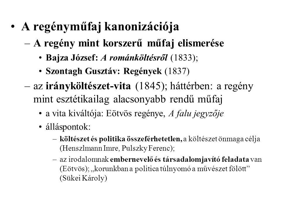 A regényműfaj kanonizációja –A regény mint korszerű műfaj elismerése Bajza József: A románköltésről (1833); Szontagh Gusztáv: Regények (1837) –az irán