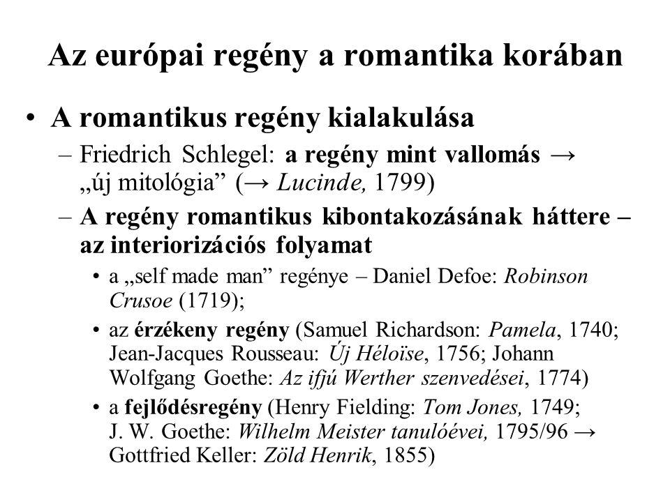 """Az európai regény a romantika korában A romantikus regény kialakulása –Friedrich Schlegel: a regény mint vallomás → """"új mitológia"""" (→ Lucinde, 1799) –"""