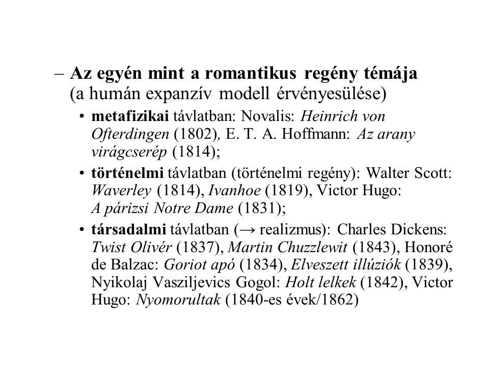 –Az egyén mint a romantikus regény témája (a humán expanzív modell érvényesülése) metafizikai távlatban: Novalis: Heinrich von Ofterdingen (1802), E.