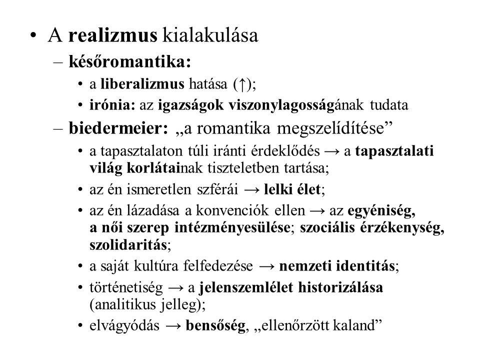 """A realizmus kialakulása –későromantika: a liberalizmus hatása (↑); irónia: az igazságok viszonylagosságának tudata –biedermeier: """"a romantika megszelí"""