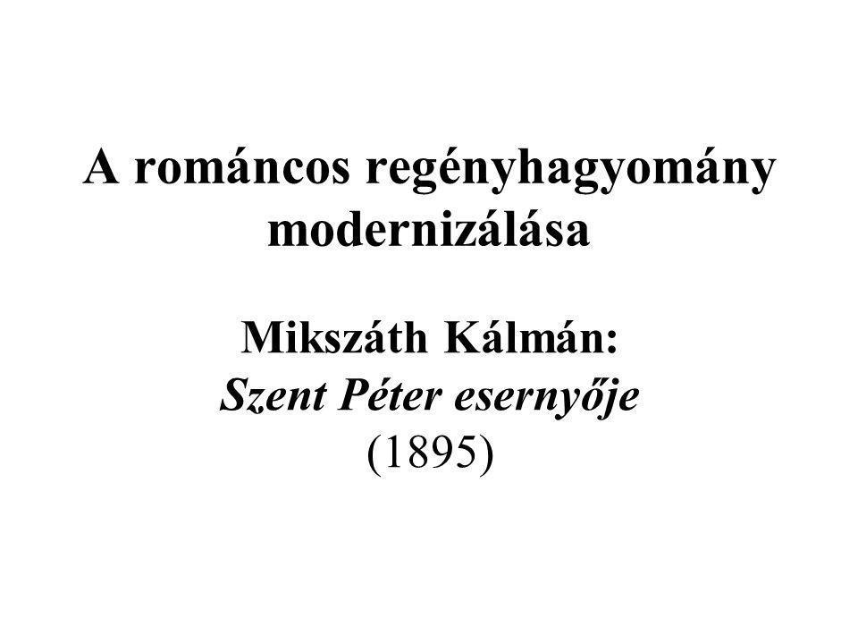 """Háttér –a magyar regény a romantika után – a realista elvárások felerősödése a """"valóság (vertikális) szűkítése/(hotizontális) szélesítése; a valóság mint elbeszélő és olvasó konszenzusa –Jókai – a későromantika mint realizmuskritika az expanzív humán modell megőrzése – korlátok között ← dúsítás/hitelesítés; az irracionalitás szereplői tudatba helyeződik (l."""