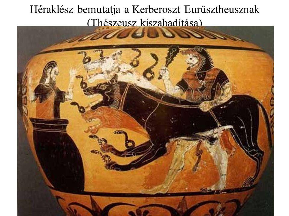 Héraklész bemutatja a Kerberoszt Eurüsztheusznak (Thészeusz kiszabadítása)