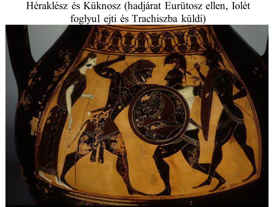 Héraklész és Küknosz (hadjárat Eurütosz ellen, Iolét foglyul ejti és Trachiszba küldi)