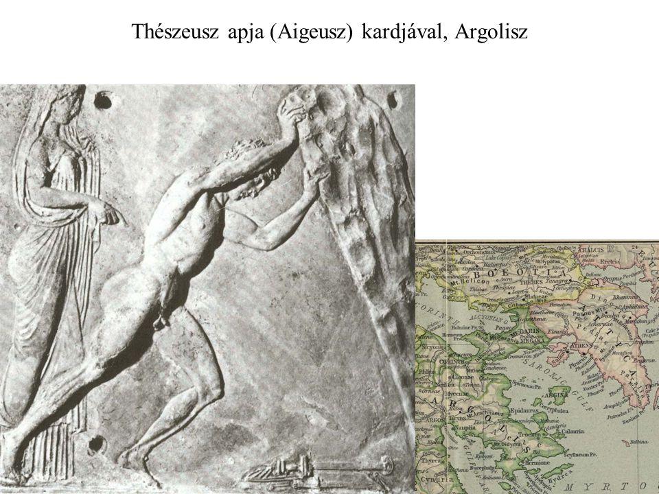 Thészeusz apja (Aigeusz) kardjával, Argolisz