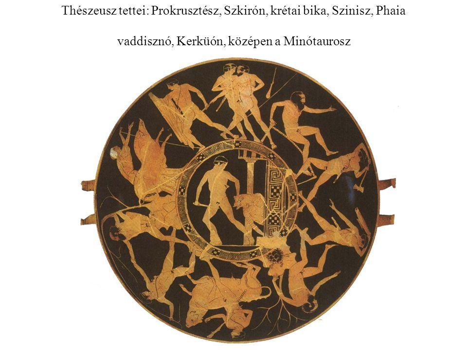 Thészeusz tettei: Prokrusztész, Szkirón, krétai bika, Szinisz, Phaia vaddisznó, Kerküón, középen a Minótaurosz