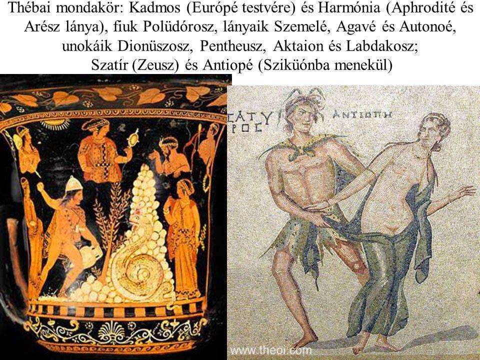 Thébai mondakör: Kadmos (Európé testvére) és Harmónia (Aphrodité és Arész lánya), fiuk Polüdórosz, lányaik Szemelé, Agavé és Autonoé, unokáik Dionüszo
