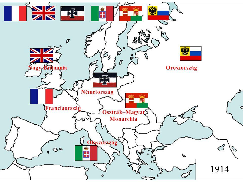 Oroszország Osztrák–Magyar Monarchia Németország Nagy-Britannia Franciaország Olaszország 1914