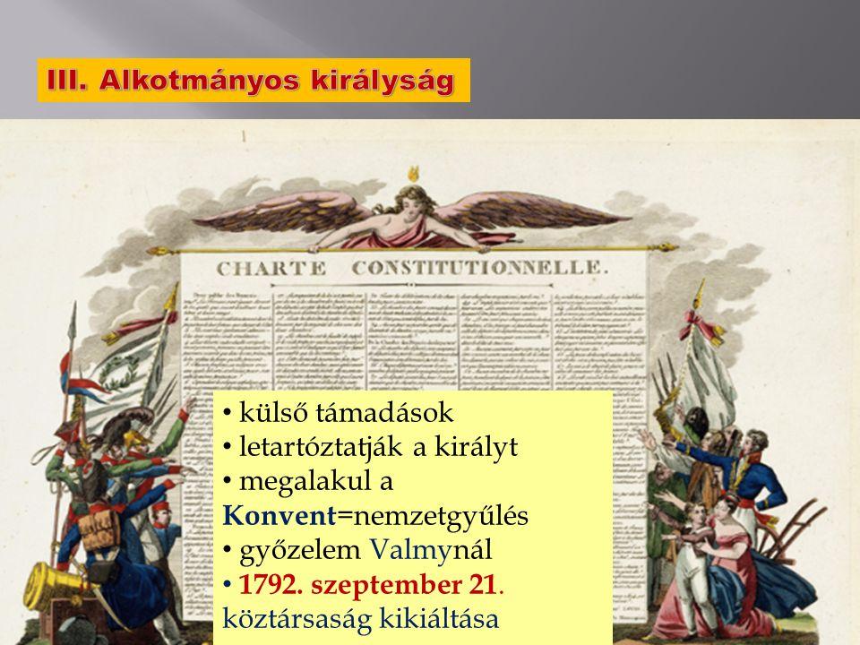 a király szökése sikertelen 1791. szeptember 14. alkotmány megszületése külső támadások letartóztatják a királyt megalakul a Konvent =nemzetgyűlés győ