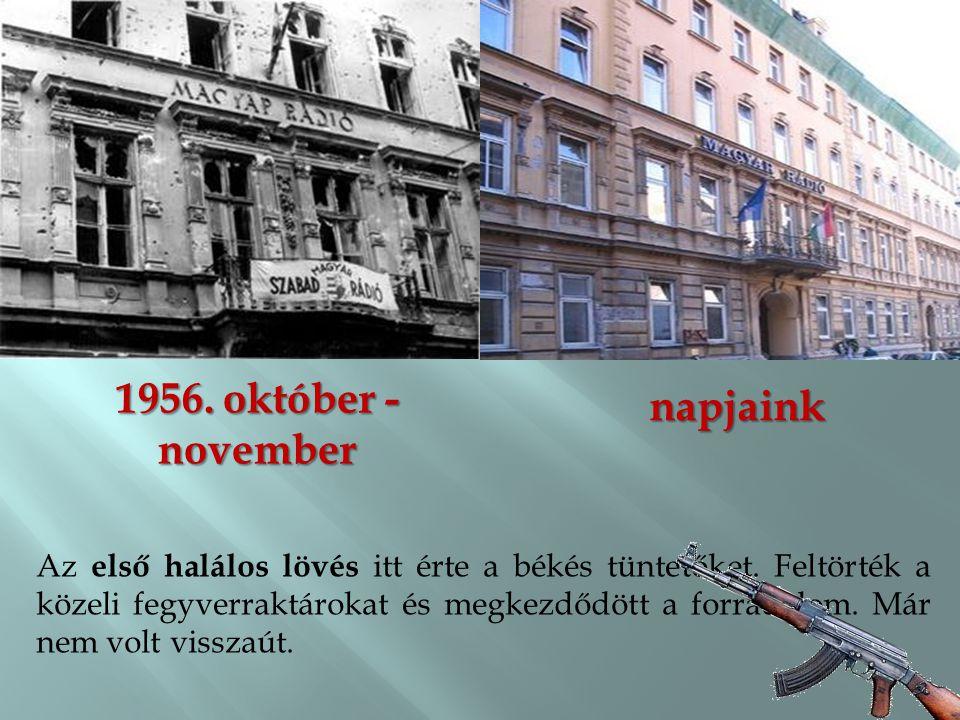 1956.október - november napjaink Az első halálos lövés itt érte a békés tüntetőket.