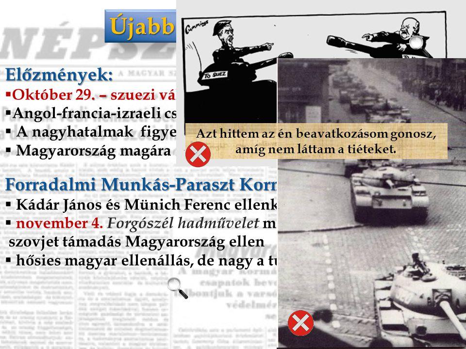 Október utolsó napjai Október 24.  Gerő Ernő helyett Kádár Jánost nevezik ki a párt élére. Október 25.  Nagy Imre alakít kormányt  Kossuth téri més