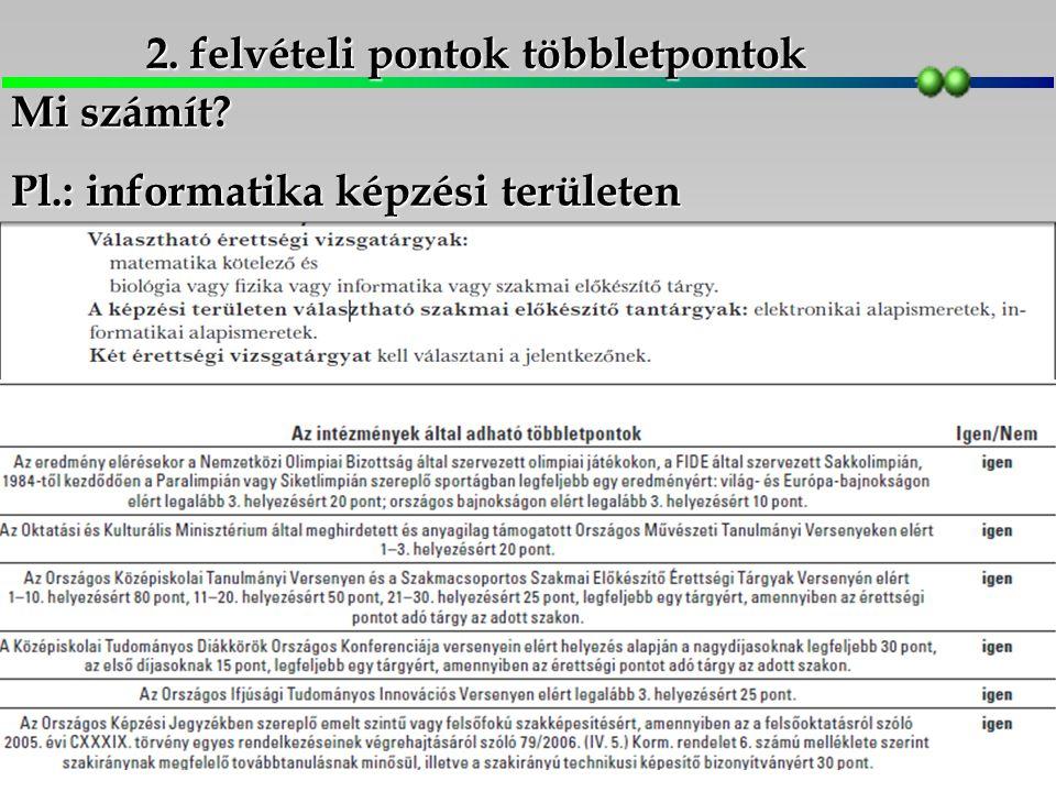 2. felvételi pontok többletpontok Mi számít Pl.: informatika képzési területen