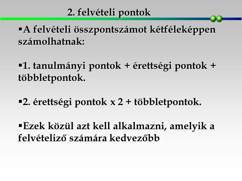 2. felvételi pontok  A felvételi összpontszámot kétféleképpen számolhatnak:  1.