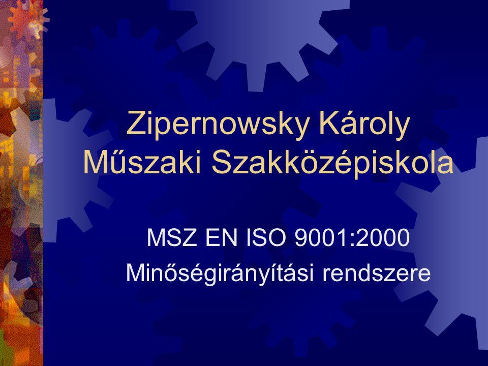 Zipernowsky Károly Műszaki Szakközépiskola MSZ EN ISO 9001:2000 Minőségirányítási rendszere