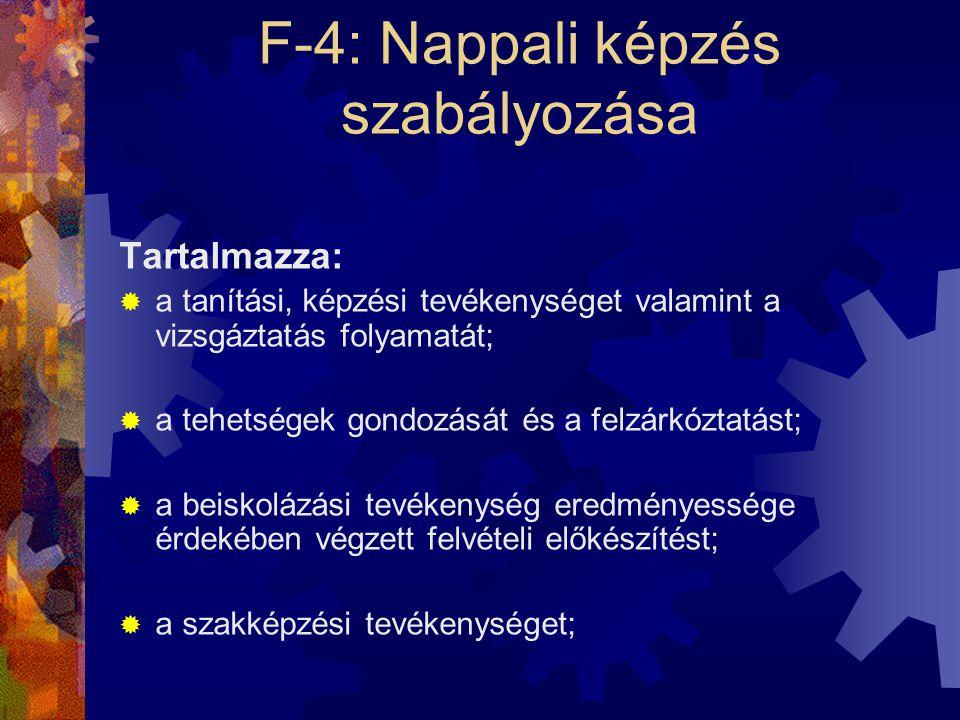 F-4: Nappali képzés szabályozása Tartalmazza:  a tanítási, képzési tevékenységet valamint a vizsgáztatás folyamatát;  a tehetségek gondozását és a f