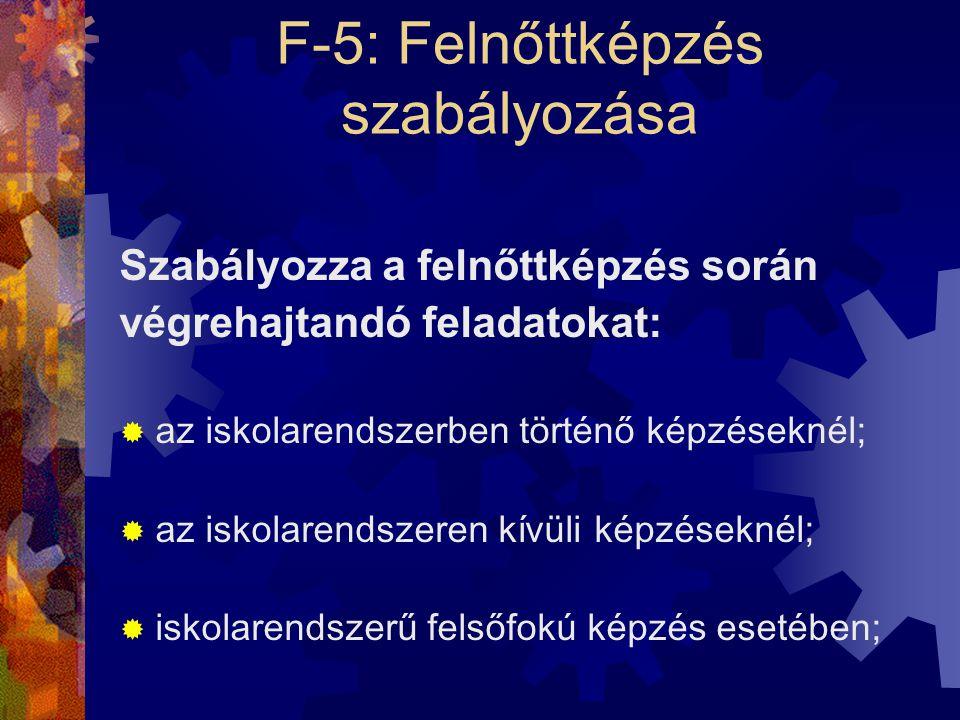 F-5: Felnőttképzés szabályozása Szabályozza a felnőttképzés során végrehajtandó feladatokat:  az iskolarendszerben történő képzéseknél;  az iskolare