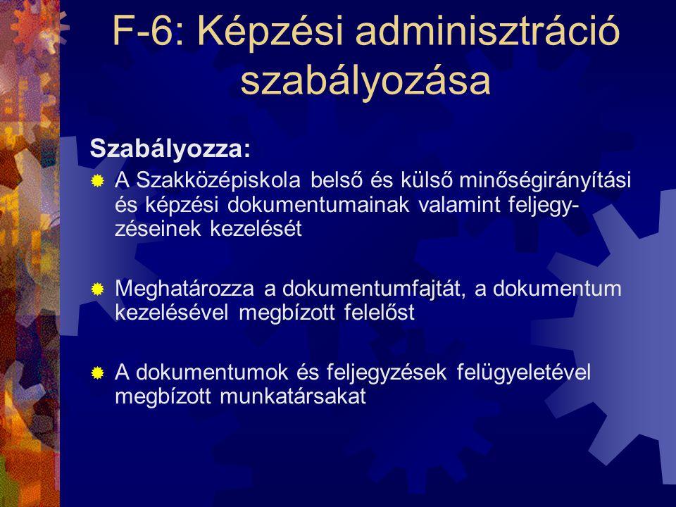 F-6: Képzési adminisztráció szabályozása Szabályozza:  A Szakközépiskola belső és külső minőségirányítási és képzési dokumentumainak valamint feljegy