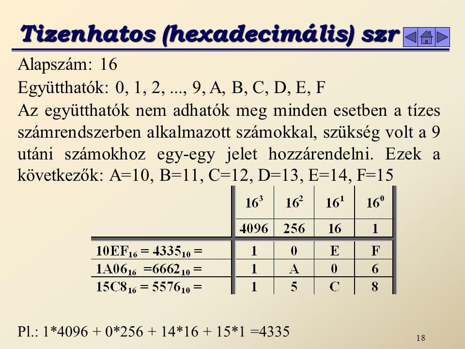 17 A számítógépben egy bináris helyértéket bitnek nevezünk, melynek állapota ‑ a bináris számrendszer együtthatói alapján ‑ 0 vagy 1 lehet.