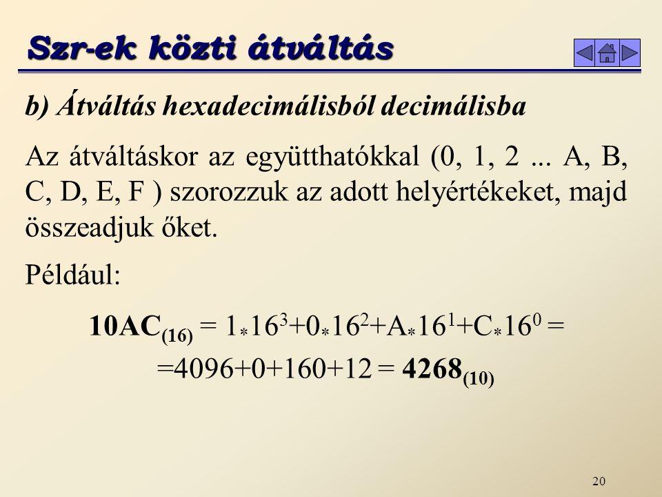 19 Az átváltáskor az együtthatókkal (0,1) szorozzuk az adott helyértékeket.