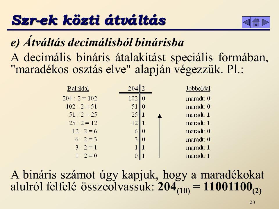 22 Az elv a következő: minden hexadecimális számjegyből egy bináris számnégyest készítünk, és az így kapott eredményt sorban egymás mellé írjuk.
