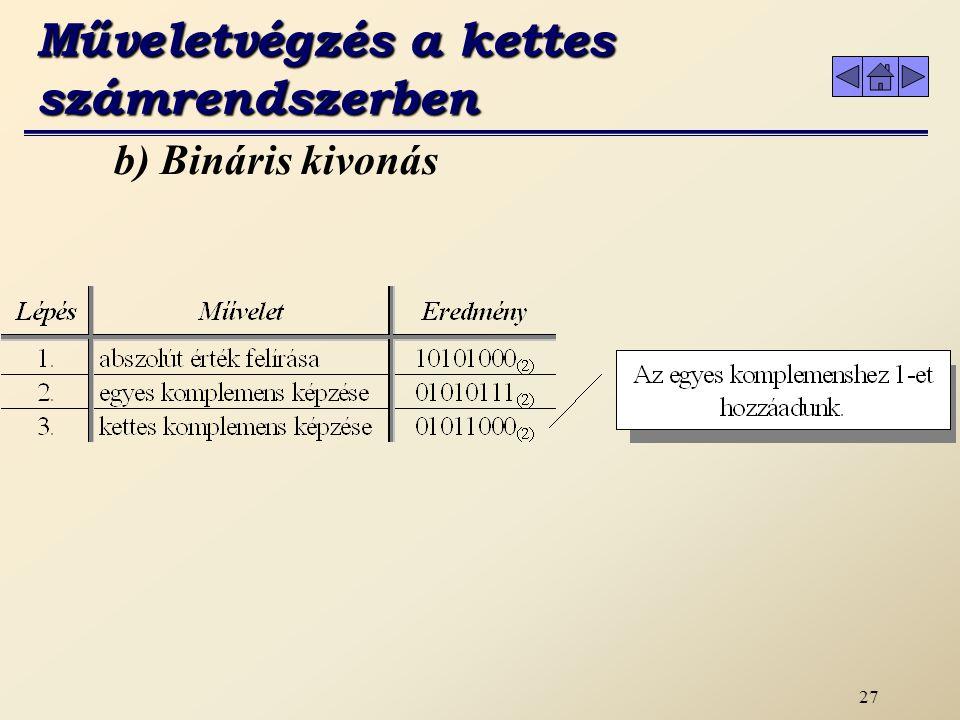 """26 b) Bináris kivonás Az egyes komplemens képzésekor problémaként vetődik fel, hogy így a nullára két kód is van: 00000000 (2) = +0 """" 11111111 (2) =  0 Erre megoldást kínál a kettes komplemens képzés."""