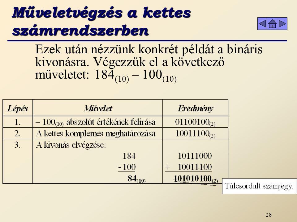 27 b) Bináris kivonás Műveletvégzés a kettes számrendszerben