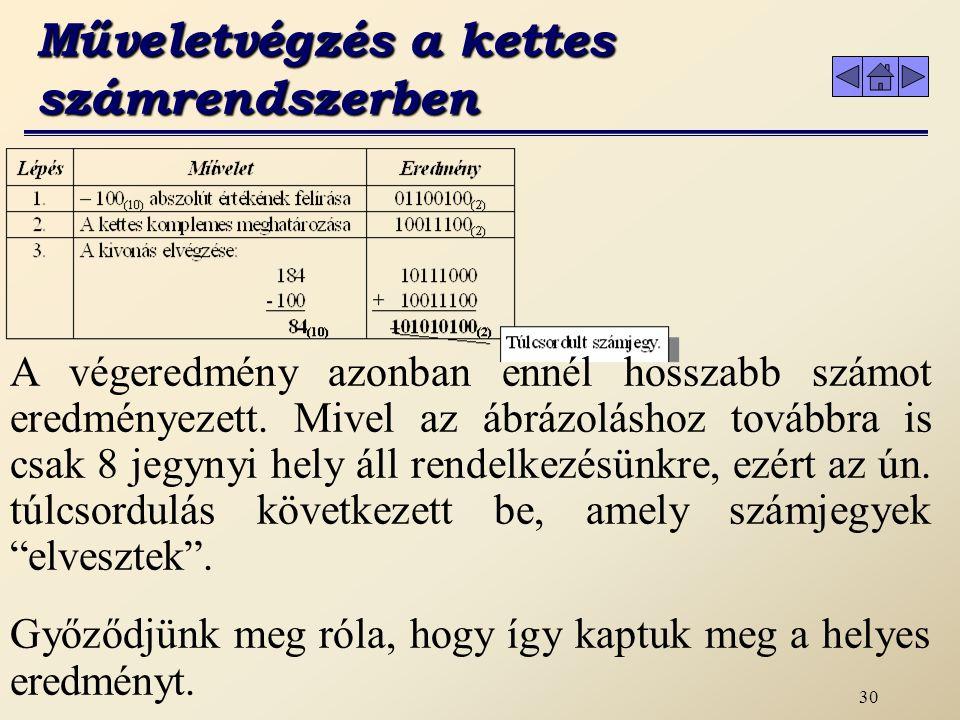 29 Műveletvégzés a kettes számrendszerben A számítástechnikában előre rögzítenünk kell a számok ábrázolásának hosszát.