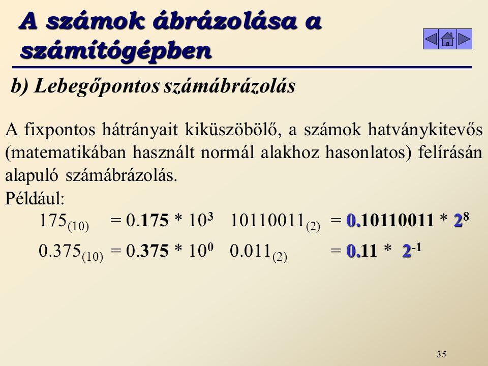 34 a) Fixpontos ábrázolás A fixpontos számábrázolás hátrányai: az ábrázolható tartomány kicsi: 2 Byte-on a legnagyobb 32.767, a legkisebb -32.768 a számok pontossága erősen korlátozott: ha egész számot ábrázol 7/4 =1 és a 4 /4=1 A számok ábrázolása a számítógépben