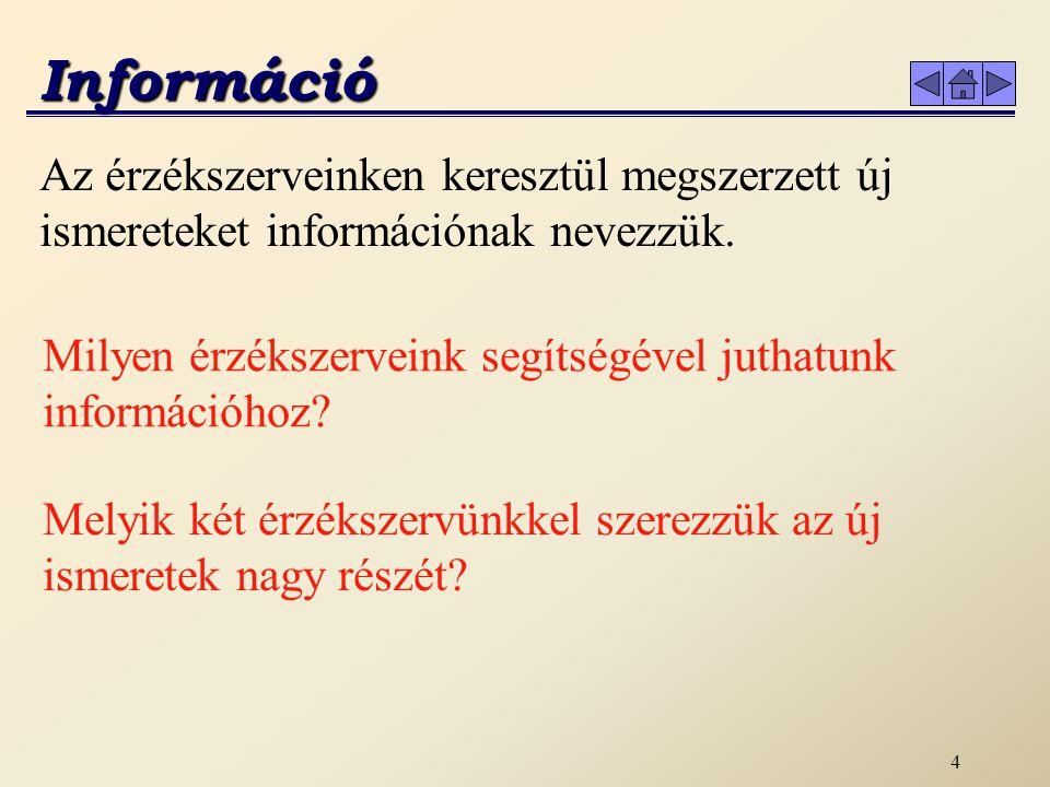 3 Informatika Információhoz kommunikáció során juthatunk.
