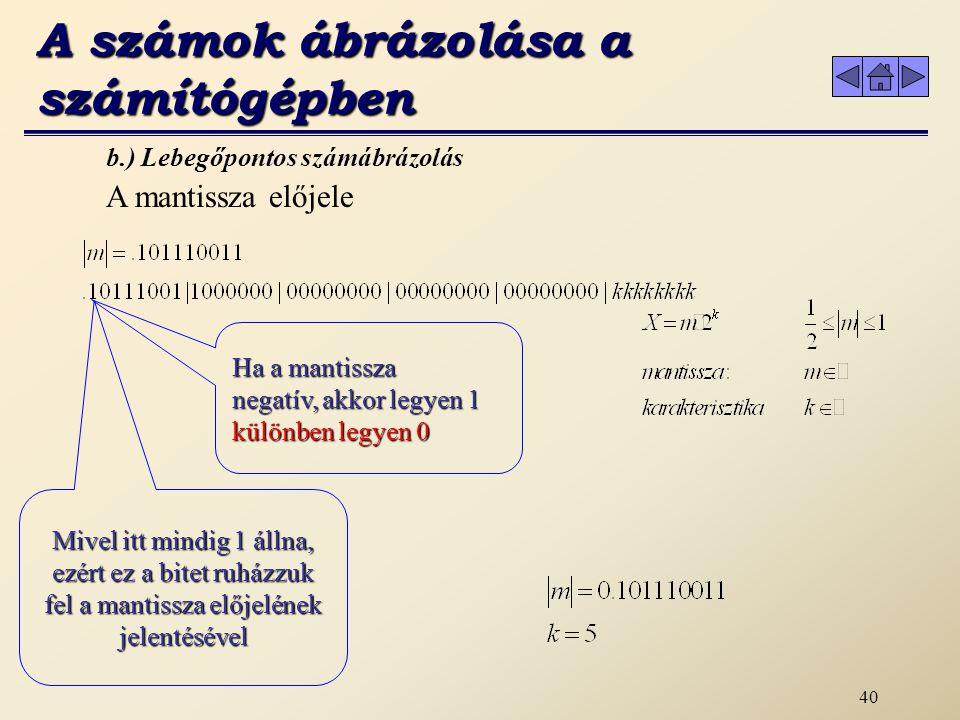 39 A számokat 6 bájtos valós típusú mennyiségként ábrázoljuk b.) Lebegőpontos számábrázolás 10111 A mantissza egészrésze= 10111 Pl.: -23.1875 A mantissza törtrésze=0011 Normálás 0.1xxxx A pontot 5 lépéssel balra tettük A számok ábrázolása a számítógépben