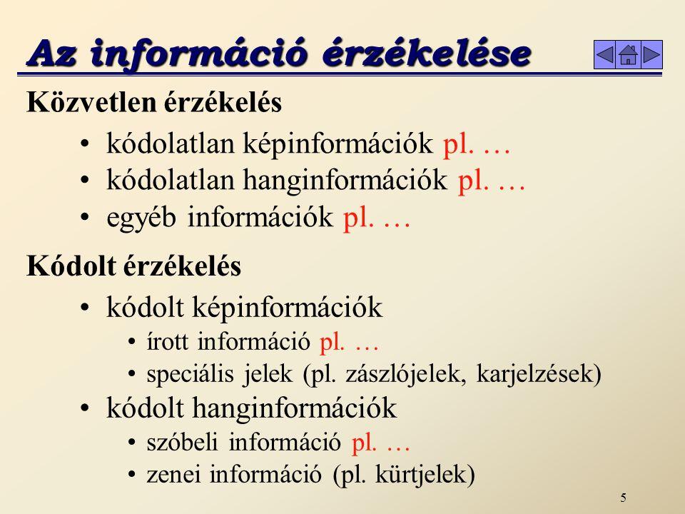 4 Információ Az érzékszerveinken keresztül megszerzett új ismereteket információnak nevezzük.