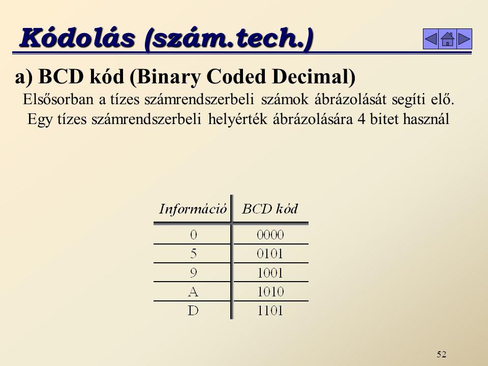 51 Kódolás-dekódolás A kódolás olyan művelet, amely egy jelrendszer elemeihez egy másik jelrendszer elemeit előre meghatározott szabályok szerint (kódkulcs) hozzárendeli.