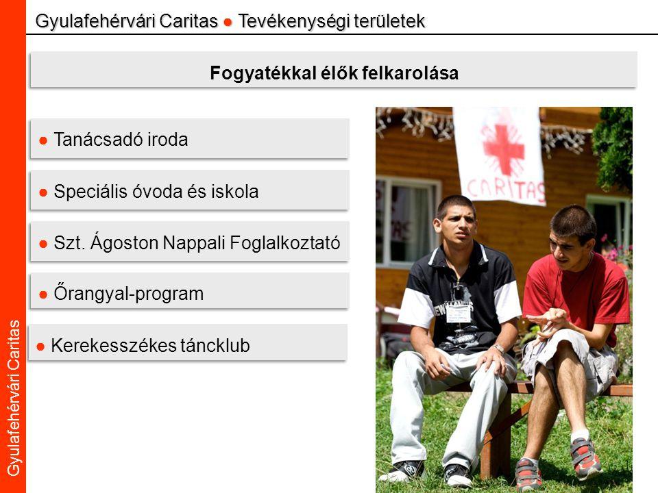 Caritas Alba Iulia Gyulafehérvári Caritas Gyulafehérvári Caritas ● Tevékenységi területek Fogyatékkal élők felkarolása ● Tanácsadó iroda ● Speciális óvoda és iskola ● Szt.