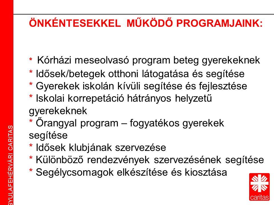 Caritas Alba Iulia Gyulafehérvári Caritas ÖNKÉNTESEKKEL MŰKÖDŐ PROGRAMJAINK: * Kórházi meseolvasó program beteg gyerekeknek * Idősek/betegek otthoni látogatása és segítése * Gyerekek iskolán kívüli segítése és fejlesztése * Iskolai korrepetáció hátrányos helyzetű gyerekeknek * Őrangyal program – fogyatékos gyerekek segítése * Idősek klubjának szervezése * Különböző rendezvények szervezésének segítése * Segélycsomagok elkészítése és kiosztása GYULAFEHÉRVÁRI CARITAS