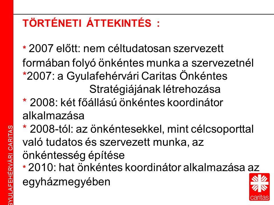 Caritas Alba Iulia Gyulafehérvári Caritas TÖRTÉNETI ÁTTEKINTÉS : * 2007 előtt: nem céltudatosan szervezett formában folyó önkéntes munka a szervezetnél *2007: a Gyulafehérvári Caritas Önkéntes Stratégiájának létrehozása * 2008: két főállású önkéntes koordinátor alkalmazása * 2008-tól: az önkéntesekkel, mint célcsoporttal való tudatos és szervezett munka, az önkéntesség építése * 2010: hat önkéntes koordinátor alkalmazása az egyházmegyében GYULAFEHÉRVÁRI CARITAS