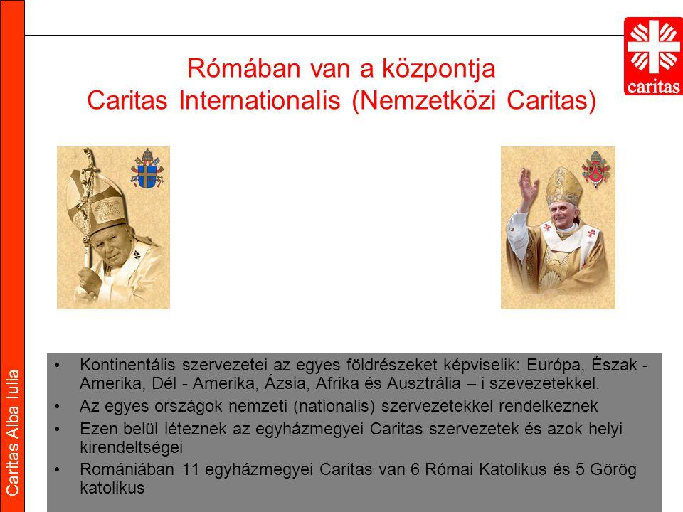 Caritas Alba Iulia Rómában van a központja Caritas Internationalis (Nemzetközi Caritas) Kontinentális szervezetei az egyes földrészeket képviselik: Európa, Észak - Amerika, Dél - Amerika, Ázsia, Afrika és Ausztrália – i szevezetekkel.