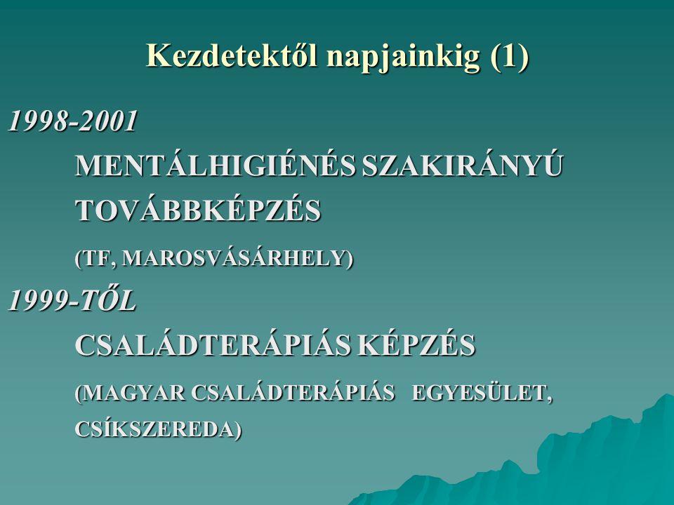 Kezdetektől napjainkig (1) 1998-2001 MENTÁLHIGIÉNÉS SZAKIRÁNYÚ TOVÁBBKÉPZÉS (TF, MAROSVÁSÁRHELY) 1999-TŐL CSALÁDTERÁPIÁS KÉPZÉS (MAGYAR CSALÁDTERÁPIÁS