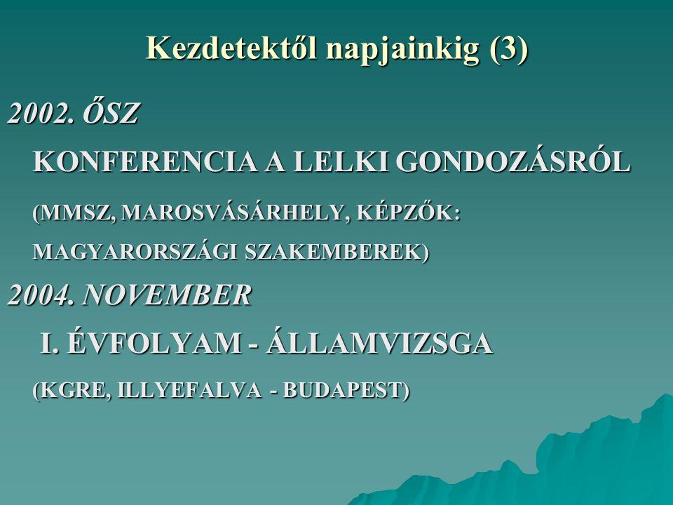 Kezdetektől napjainkig (3) 2002. ŐSZ KONFERENCIA A LELKI GONDOZÁSRÓL (MMSZ, MAROSVÁSÁRHELY, KÉPZŐK: MAGYARORSZÁGI SZAKEMBEREK) 2004. NOVEMBER I. ÉVFOL