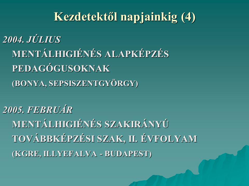 Kezdetektől napjainkig (4) 2004. JÚLIUS MENTÁLHIGIÉNÉS ALAPKÉPZÉS PEDAGÓGUSOKNAK (BONYA, SEPSISZENTGYÖRGY) 2005. FEBRUÁR MENTÁLHIGIÉNÉS SZAKIRÁNYÚ TOV