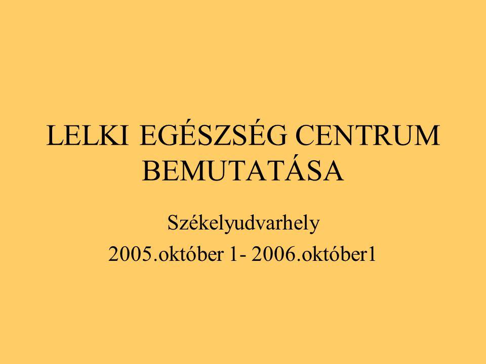 LELKI EGÉSZSÉG CENTRUM BEMUTATÁSA Székelyudvarhely 2005.október 1- 2006.október1