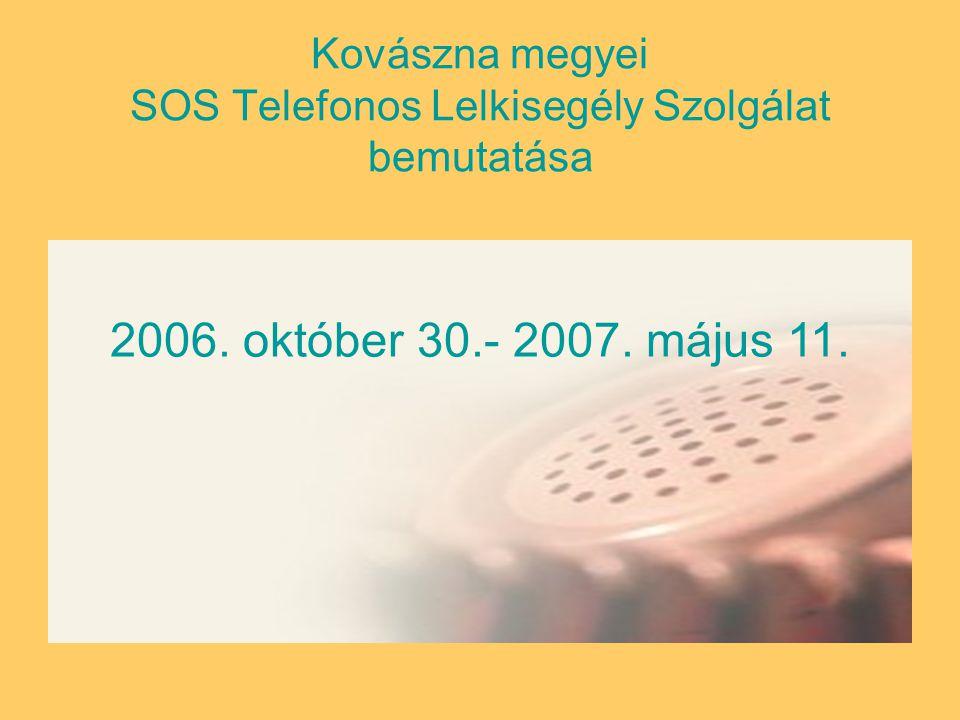 Kovászna megyei SOS Telefonos Lelkisegély Szolgálat bemutatása 2006. október 30.- 2007. május 11.