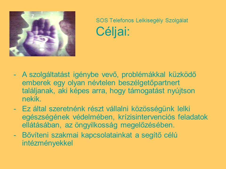 SOS Telefonos Lelkisegély Szolgálat Céljai: -A szolgáltatást igénybe vevő, problémákkal küzködő emberek egy olyan névtelen beszélgetőpartnert találjanak, aki képes arra, hogy támogatást nyújtson nekik.