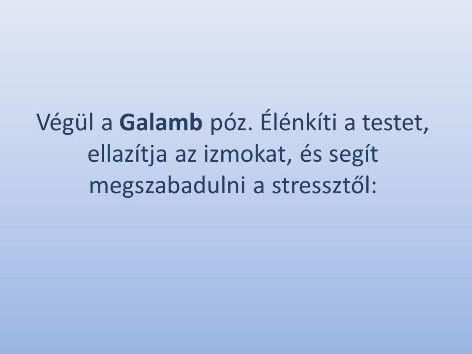 Végül a Galamb póz. Élénkíti a testet, ellazítja az izmokat, és segít megszabadulni a stressztől: