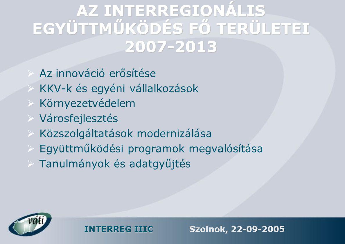 INTERREG IIIC Szolnok, 22-09-2005 AZ INTERREGIONÁLIS EGYÜTTMŰKÖDÉS FŐ TERÜLETEI 2007-2013  Az innováció erősítése  KKV-k és egyéni vállalkozások  K
