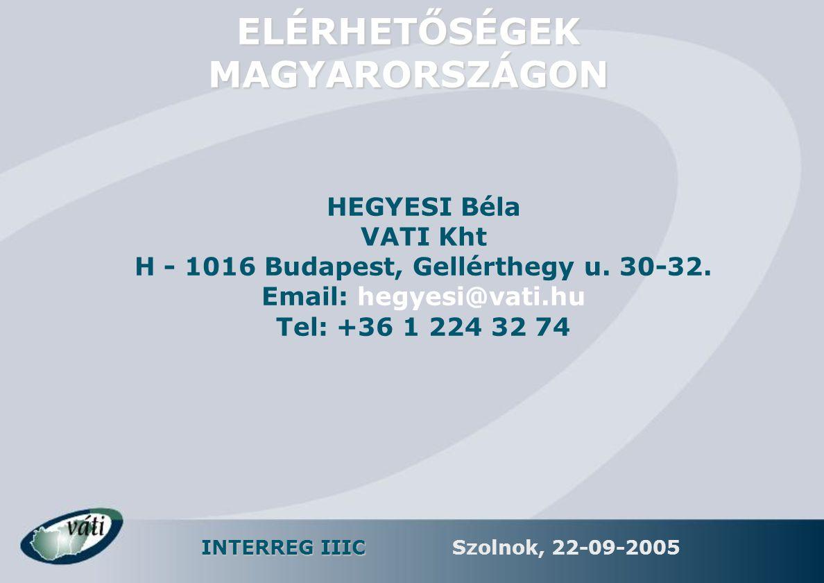 INTERREG IIIC Szolnok, 22-09-2005 ELÉRHETŐSÉGEK MAGYARORSZÁGON HEGYESI Béla VATI Kht H - 1016 Budapest, Gellérthegy u. 30-32. Email: hegyesi@vati.hu T