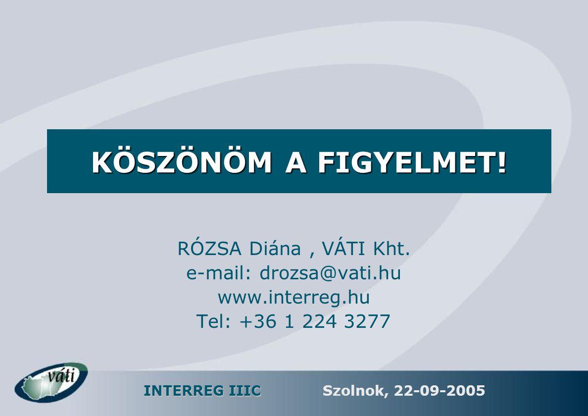 INTERREG IIIC Szolnok, 22-09-2005 RÓZSA Diána, VÁTI Kht. e-mail: drozsa@vati.hu www.interreg.hu Tel: +36 1 224 3277 KÖSZÖNÖM A FIGYELMET!