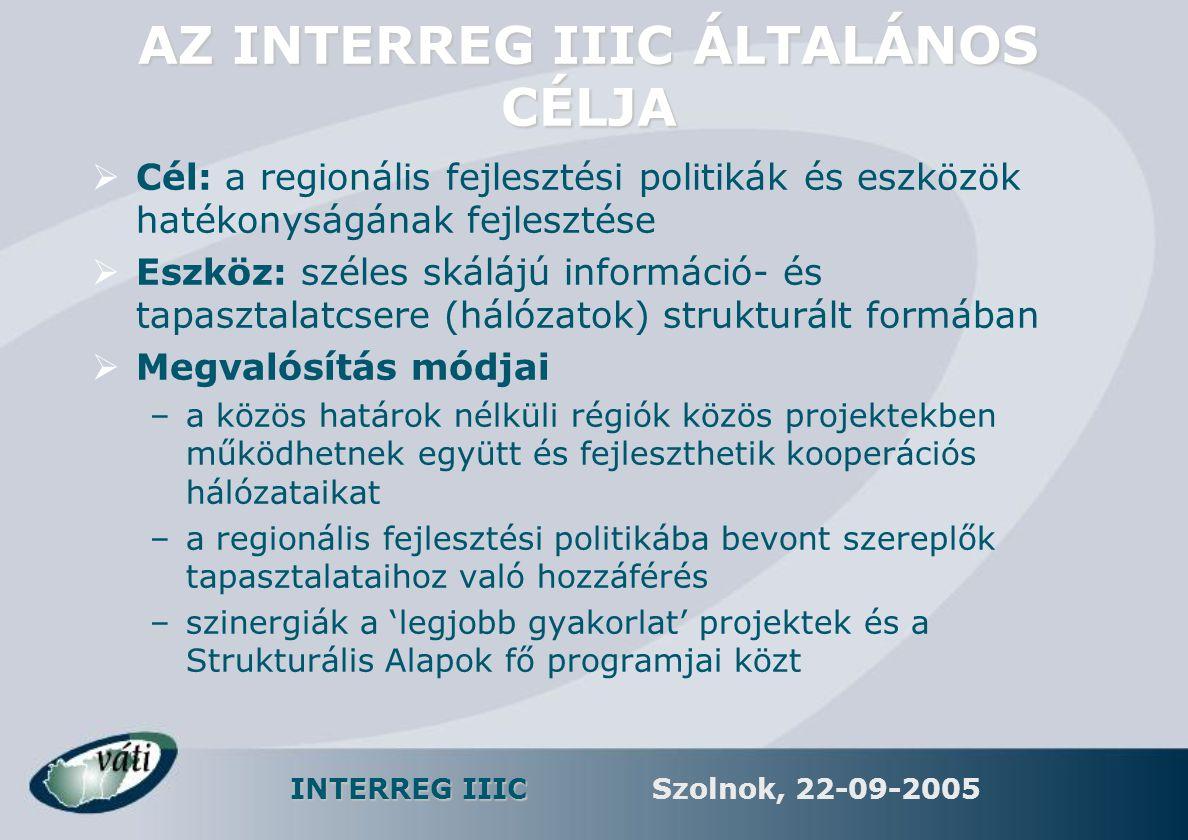 INTERREG IIIC Szolnok, 22-09-2005 AZ INTERREGIONÁLIS EGYÜTTMŰKÖDÉS FŐ TERÜLETEI 2007-2013  Az innováció erősítése  KKV-k és egyéni vállalkozások  Környezetvédelem  Városfejlesztés  Közszolgáltatások modernizálása  Együttműködési programok megvalósítása  Tanulmányok és adatgyűjtés