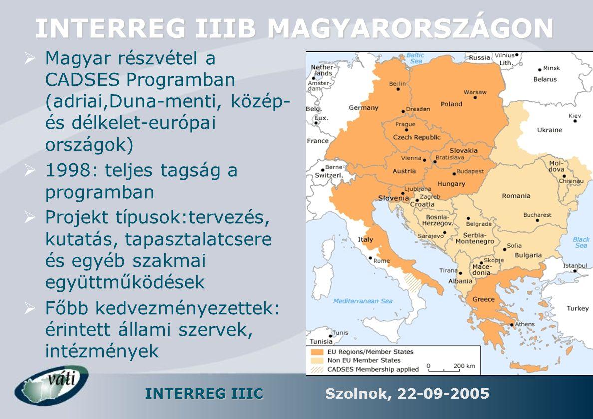 INTERREG IIIC Szolnok, 22-09-2005 INTERREG IIIB MAGYARORSZÁGON  Magyar részvétel a CADSES Programban (adriai,Duna-menti, közép- és délkelet-európai o