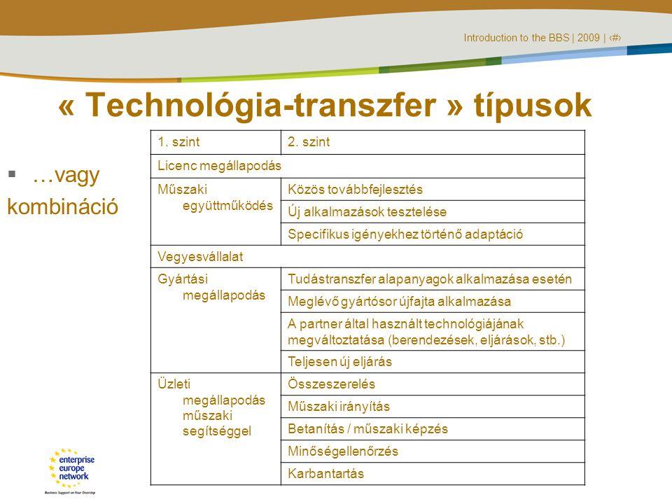 Introduction to the BBS | 2009 | ‹#› « Technológia-transzfer » típusok  …vagy kombináció 1.