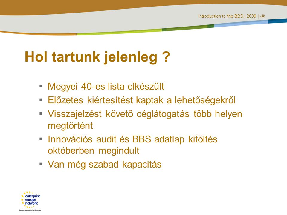 Introduction to the BBS | 2009 | ‹#› Hol tartunk jelenleg .